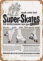 2個 スーパースケートノスタルジックウォールプラークルック複製ハウスコーヒーメタルティンサイン8x12インチ