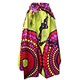 Candow Look Femme Longues Jupe Cotton Imprime Boho Style Maxi Taille Elastique (One Size, circel Pattern)