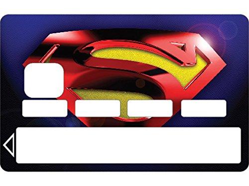 StickersNews 1121 - Adesivi Skin per Carta di Credito, Motivo Superman, Colore Blu