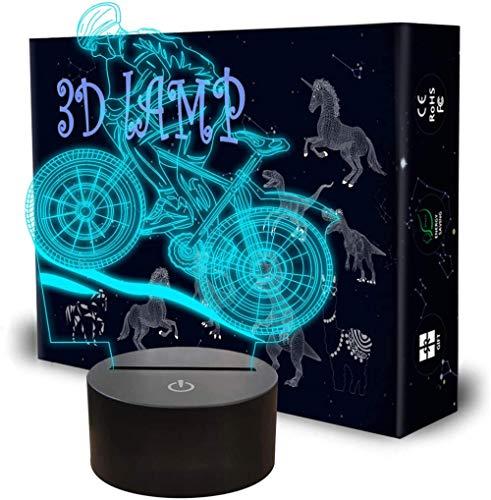 Bicicleta 3D lámpara de ilusión óptica bebé luz de la noche juguetes para niños, 7 años de edad niño regalos, regalo niño edad 7 6 5 4 3