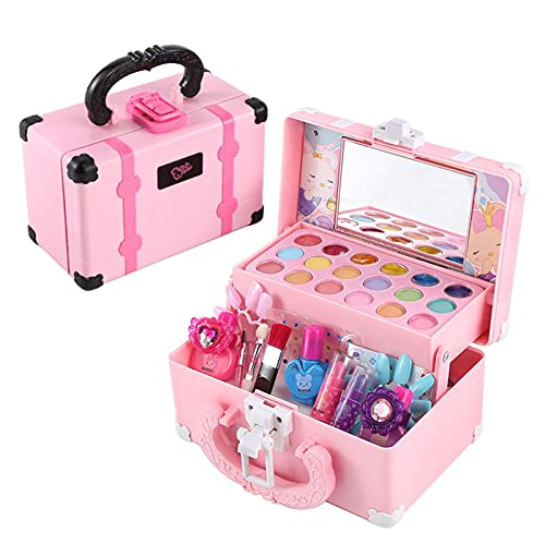biteatey Juego de juguetes de maquillaje para niños, juguetes cosméticos para niñas, juego de maquillaje para niños, maletín de cosmética con para regalos, juegos de rol, regalo de cumpleaños