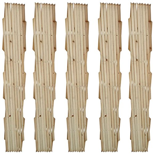 Irfora Trellis Fence 5 pcs Expandable Wooden Trellis Fence Garden Screen Weather-resistant Solid Wood 180x90 cm