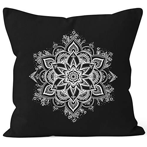 Autiga Kissenbezug Mandala Ornament Bohemian Boho Ethno Kissen-Hülle Deko-Kissen schwarz Unisize