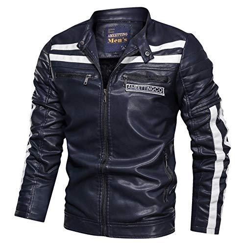 Herren PU Leder Naht Plus Samt Kragen Jacke Motorrad Jacke Tasche Dekoration Gr. XL, marineblau