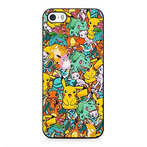 RO&CO Funda iPhone 5 / iPhone 5S / iPhone SE Case Pokémon Pikachu Black Silicone Soft Case B-008