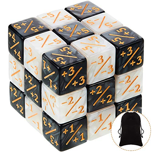 24 Pieces Dice Counters Token Dice Loyalty Dice Marble D6 Dice Cube Compatible with MTG, CCG, Card...