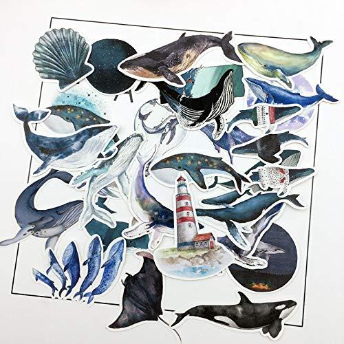 28pcs water color Deep sea blue whale sticker Planner Scrapbooking DIY Dry Glue Dolphin Sticker
