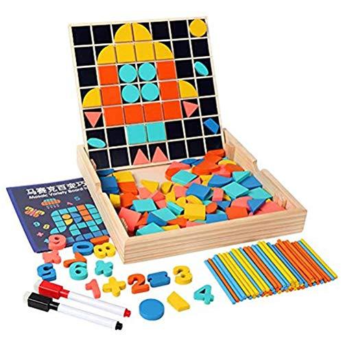 Kerta Tangram Puzzle Juguete, Rompecabezas de mosaico de madera a juego Bloque de patrón, Manipulación geométrica Forma Puzzle Regalo