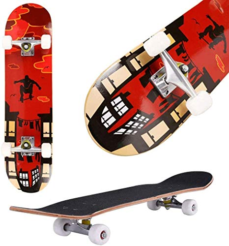 Oppikle Skateboard Komplettboard Mit ABEC-9 Kugellager Und 9-Lagigem Ahornholz 95A Rollenhärte Funboard FÜR Anfänger Und Profis - Belastung 100 KG