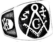 KIRALOVE - Anello Quadrato Argento e Nero Maestro Massone - Teschio - Squadra - Compasso - Massoneria - Simboli Esoterici - Acciaio Inossidabile - Uomo Donna e Ragazza
