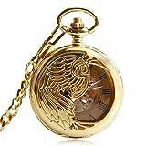 Klassische Golden Pocket Uhr Uhr Skelett Anhänger Exquisite Phoenix Automatische Mechanische Selbst Wickeln Kette Krankenschwester Geschenk