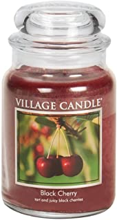 Village Candle Black Cherry 26 oz Glass Jar Scented Candle, Large