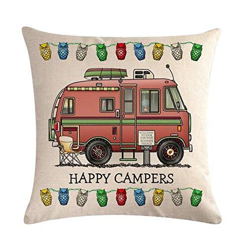 """JoyRolly Fundas de Almohada Happy Campers 18""""x 18"""" Funda de cojín de Lino de algodón 45cm x 45cm Funda de Almohada Cuadrada para Decorar el hogar con Cremallera Invisible Beige 11"""