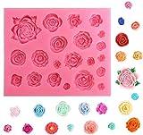 【Ever garden】 バラ 花 21個 シリコンモールド レジン アロマストーン 手作り 石鹸 キャンドル 樹脂 粘土 オルゴナイト 型 抜き型 立体 薔薇