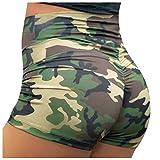 Pantalones Cortos De Yoga De Cintura Alta para Mujer Camo Elástico Gimnasio Control De Barriga Pantalones Deportivos