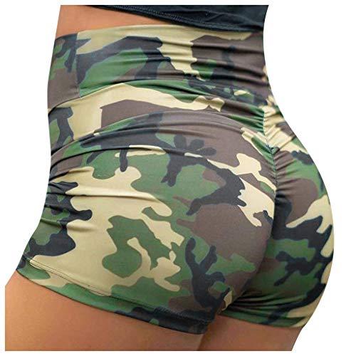 Luotuo Damen Yoga Boxershorts, Camouflage Hüfte Hohe Taille Sport Shorts Unterhose Hotpants Fitness Workout Jogginghose Radlerhose Sommerhosen