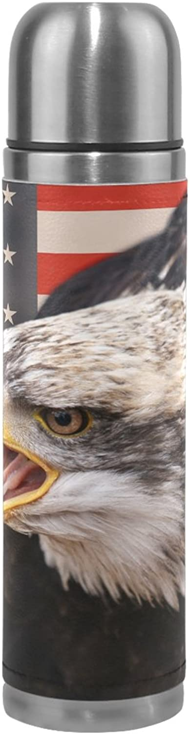 LEISISI American Flag Bald Eagle Stainless Steel Water Bottle LeakProof Vacuum Insulated Flask Pot Sport Double Wall Water Bottle PU Leather Travel Thermal Mug 17 Oz