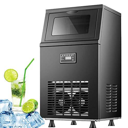 Tragbare Eismaschine für gewerbliche Zwecke - 36 Würfel Eis bereit in 15 Minuten, Macht 77 Pfund Eis pro 24 Stunden, Kompakte und leichte Eismaschine mit 22 lb Eisspeicher,Schwarz