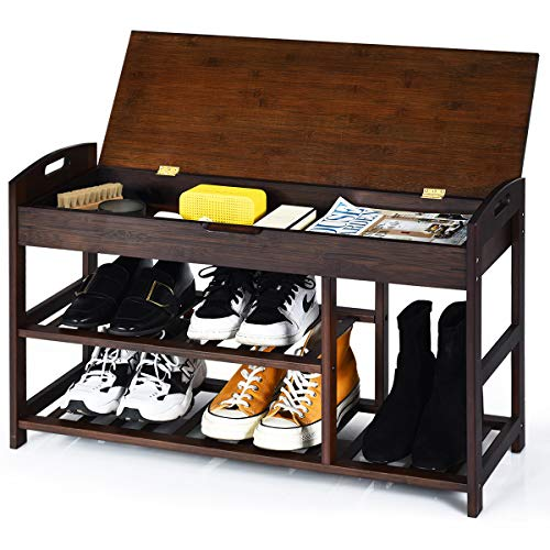 Giantex Shoe Bench Entryway with Storage Bamboo 3-Tier W/Openable Seat and Shelves, Multi-Function Shoe Rack for Hallway, Bathroom, Living Room, Bedroom Shoe Organizer Shelf (Black)