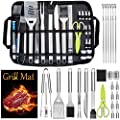 Leonyo 27PCS Heavy Duty BBQ Grilling Accessories in Case, Professional Stainless Steel BBQ Grill Tool Set for Outdoor Cooking Camping Grilling Smoking, BBQ Tongs, Meat Thermometer, Dishwasher Safe
