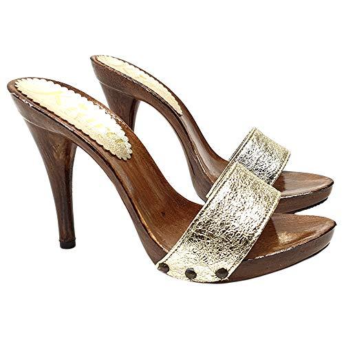 Kiara Shoes Zoccoli Handmade Alti con Fascia Dorata - KM7203-ORO (36 EU, Oro)