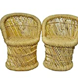 Brightway Collection - Handicraft Bamboo Cane Bar Stool Mudda for Indoor/Outdoor Furnishings (Multicolour, 63)