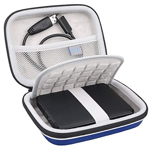 Lacdo Festplattentasche für Intenso Memory Station Case/KESU Ultra Slim/Seagate Expansion/Seagate Backup Plus Slim Externe Festplatte 500GB 1TB 2TB 3TB 4TB 5TB 2.5 Zoll USB 3.0 Tasche, Blau