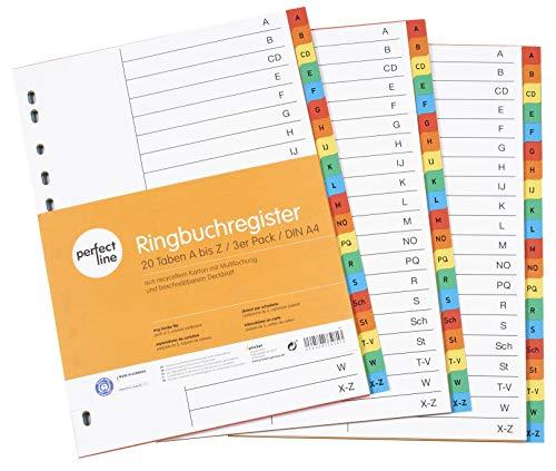 perfect line 3er Pack A-Z Register DIN-A4 20-teilig (3x20), farbig, 22,5 x 29,7 cm, mit Deckblatt, Farb-Trenner aus Karton in 5 Farben, 160g, perfekte Trenn-Blätter für die Ordner-Organisation im Büro