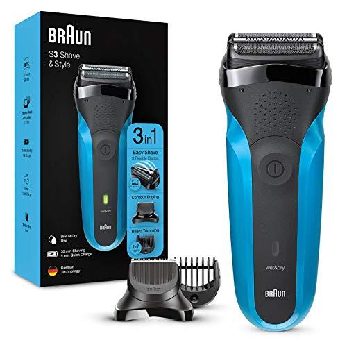 Braun Series 3 Shave&Style 310BT 3 in 1 Rasoio Elettrico Uomo, Wet&Dry con Regolabarba di Precisione e 5 Pettini, Ricaricabile e Senza Fili, Nero/Blu