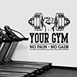 Etiqueta engomada del gimnasio No Pain No Gain etiqueta de la pared Fitness citas inspiradoras vinilo pared calcomanía Mural decorativo A8 43x48cm