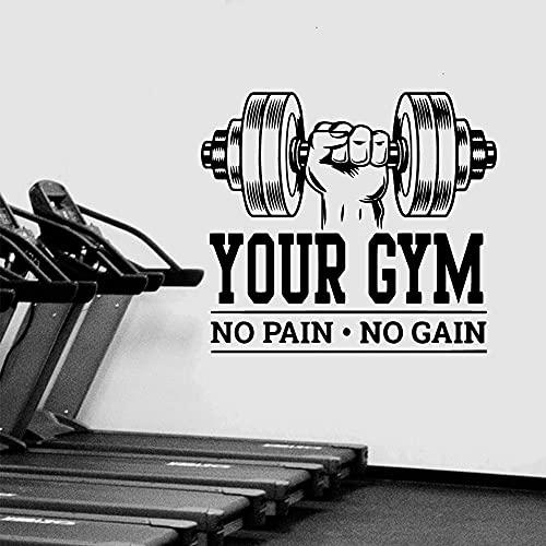 Pegatina de gimnasio No Pain No Gain pegatina de pared Fitness citas inspiradoras vinilo pared calcomanía Mural decorativo A1 57x64cm