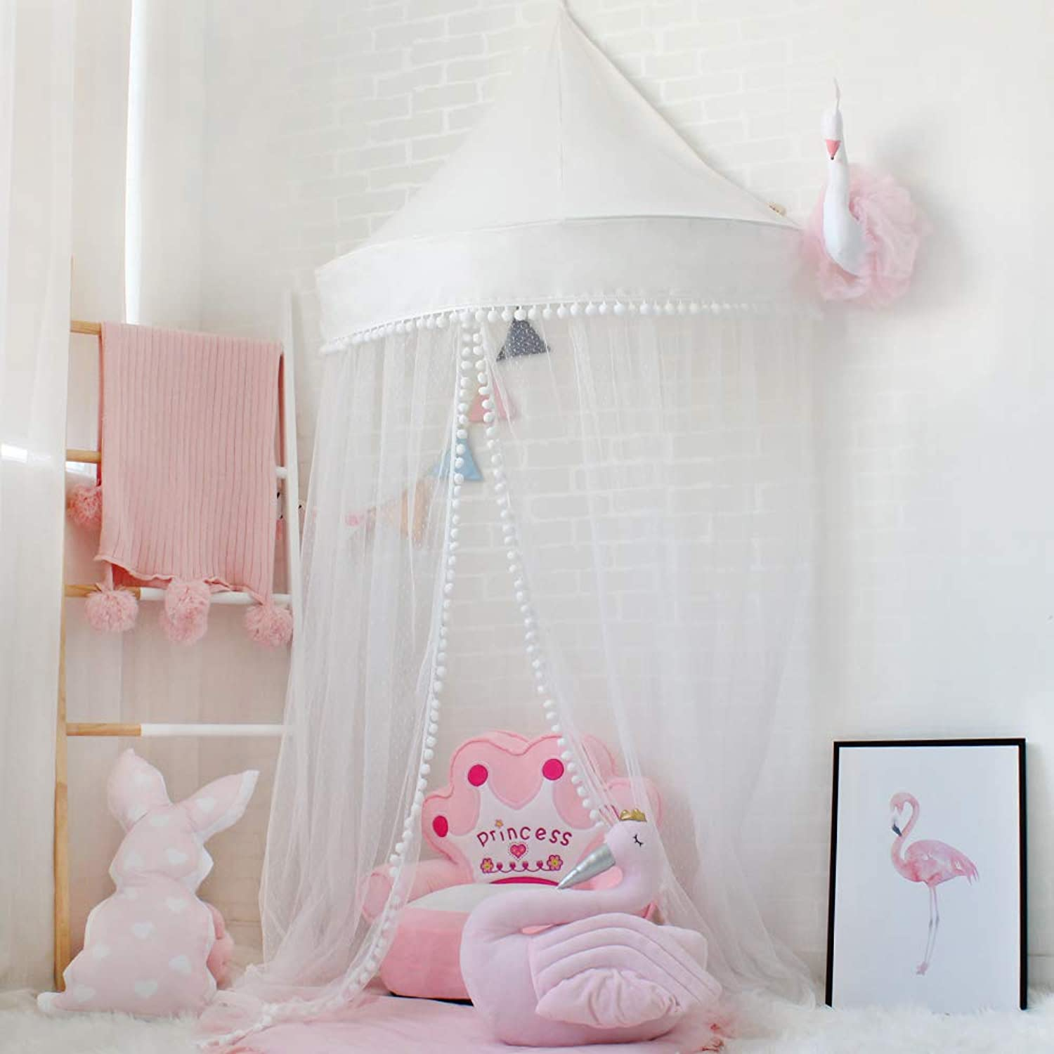 Lebze Princess Girls Bed Canopy, Crib Canopy Dome Castle, Fairy Net for Kids Bed, Kids Play Tent Castle, Reading Nook Canopy for Girls, Babies & Toddlers Diameter 100cm   39.4inch