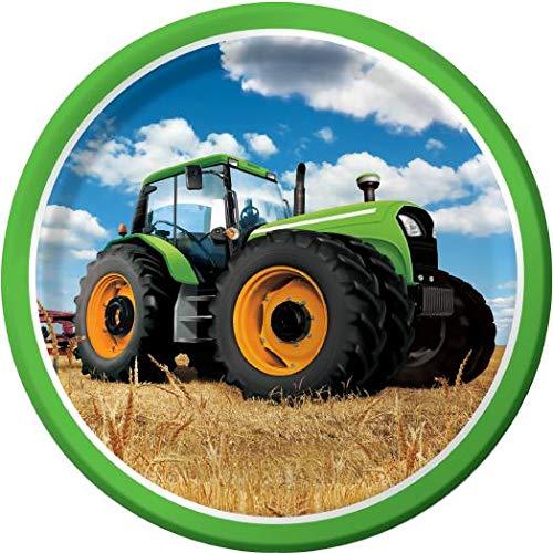 8 Teller * TRAKTOR * für Kindergeburtstag oder Mottoparty // Plates Partyteller Pappteller Bauernhof Trekker Felder Bauern