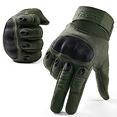 FREETOO Knuckle Tactical Gloves for Men Green Military Gloves for Shooting Airsoft Paintball Motorcycle Climbing and Heavy Duty Work (Large)