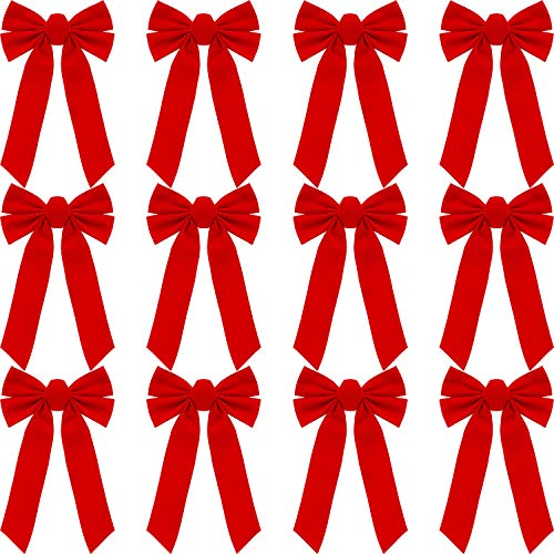12 Piezas Lazos Terciopelo Rojos Lazos Corona Navideña