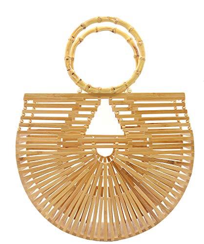 Miuco Womens Bamboo Handbags Handmade Purses Tote Bag Large
