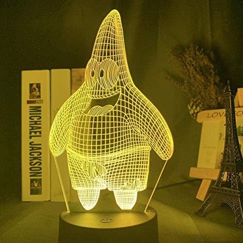 Festival Lámpara de Ilusión 3D Luz de Noche Led Dibujos Animados Bob Esponja Patricio Estrella Holograma Bebé Niño Dormitorio Regalo de Noche para Navidad Lámpara para Dormir para Niños