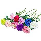 RETON 10 Tiges Artificielle Soie Rose Bouquet de Fleurs comme Naturel pour Mariage, Fête, Maison, Jardin, Décor de Bureau - 50cm (Multicolore)