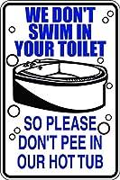 簡単に取り付けるための事前穴あけ、トイレでの水泳なし、おしっこなしの温水浴槽、スズの壁の看板レトロな鉄の絵ヴィンテージの金属製プラークハンギングポスターバーカフェストアホームヤード