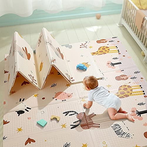 beiens Baby Play Mat, Portable Folding Extra Large Baby Crawling Mat, Waterproof Non Toxic Anti-Slip Soft Foam Reversible Playmat for Infants Toddler Kids, 77 x 70 inch