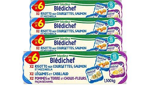 Blédina 24 Blédichef dès 15 mois 4 recettes 24 repas pour bébé 6x Risotto Courgette Saumon et Mozarrella 6x Ecrasé de Pommes de Terres et Chouxfleurs Béchamel 6x Mijoté de légumes et Cabillaud