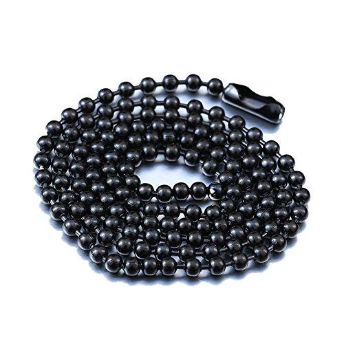 IFUAQZ - Collar de cadena de cuentas de titanio de acero inoxidable para hombres y mujeres, pequeñas cuentas, cadena de eslabones de 45,7 a 91,4 cm