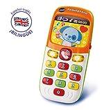 VTech - Pequephone bilingüe, juguete bebé +6 meses, teléfono infantil con luces, sonidos y canciones en inglés y español, enseña números, colores y animales, multicolor (80-138147)