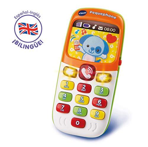 VTech - Pequephone bilingüe, juguete bebé +6 meses, teléfono infantil con luces, sonidos y canciones en inglés y español, enseña números, colores y animales, multicolor (80-138147) 🔥