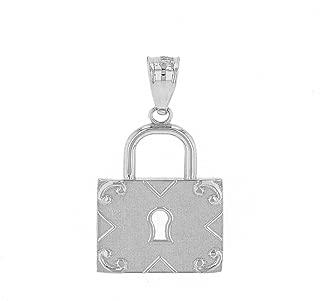 Claddagh Gold Fine 925 Sterling Silver Swirl Square Padlock Charm Pendant