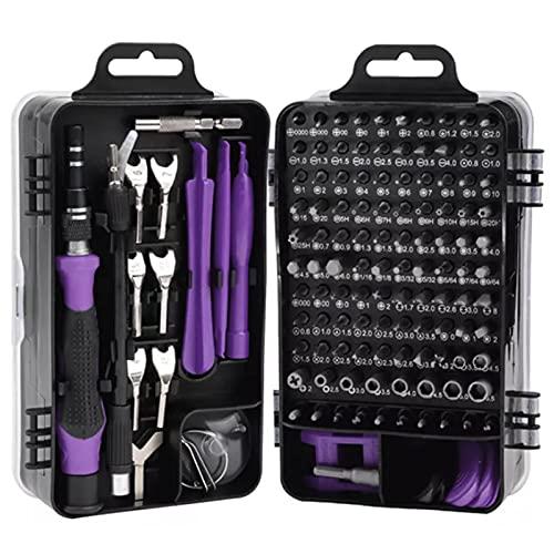 FHJL 135 en 1 Conjunto de Destornilladores de precisión multifunción, TORX Hex Tornillo de Tornillo Teléfono móvil Dispositivo electrónico Reparación de Mano Herramientas Purple