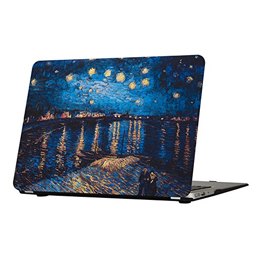 Funut MacBook Pro 15 Retina Case with Display 2012-2015 Release A1398 Rubberized Coated Glossy Plastic Hard Case Shell Protective Cover for MacBook Retina 15 Inch,Starry Night Over The Rhone