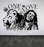 Adhesivo de pared de vinilo extraíble calcomanía de pared Bob Marley Lion Zion Love Cannabis póster decoración de diseño de arte para el hogar 57 * 75Cm