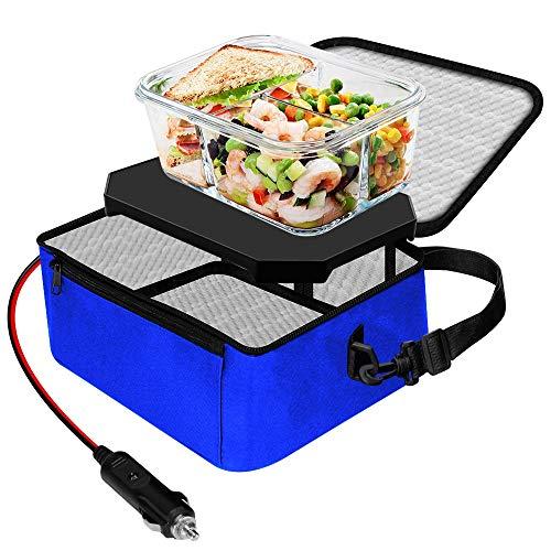 TrianglePatt - Calentador de alimentos portátil de 12 V para coche, portátil, mini microondas, para comidas calientes, caja de almuerzo con bolsa para viajes, camping, trabajo al aire última intervensión, cacerolas y cocina en casa