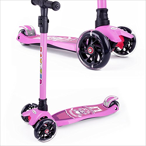 BAYTTER Kinderscooter Dreirad mit verstellbarem Lenker Kinderroller Roller Scooter für Kinder ab 3 4 5 Jahren, bis 75kg belastbar (Rosa)